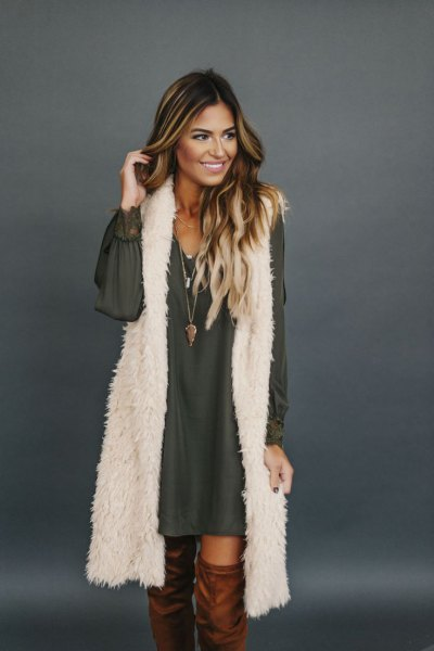 white longline faux fur vest with chiffon long-sleeved mini dress