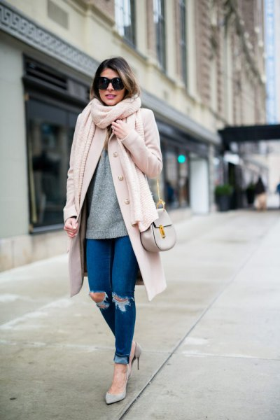 white longline wool coat with blue ribbed skinny jeans with cuffs