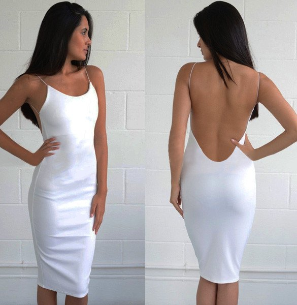 white bodycon midi dress with low back