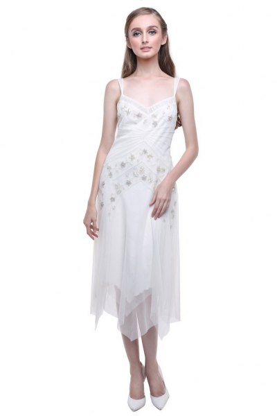 white, floral embroidered midi chiffon flapper dress with a low cut