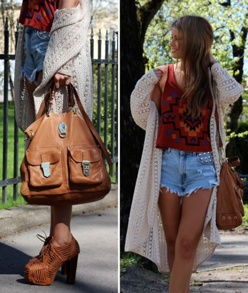 white crochet maxi jacket with red graphic tank top and mom jean shorts