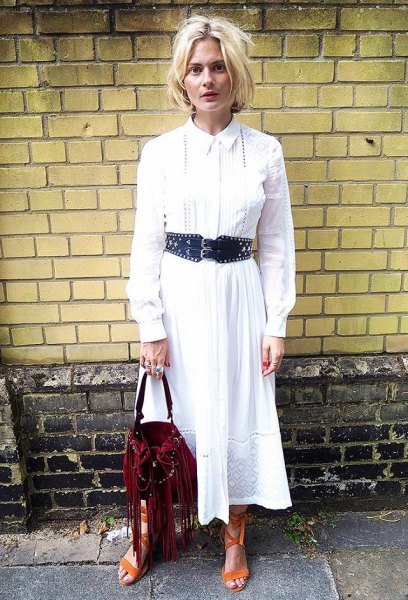 white maxi shirt dress with buttons and black belt