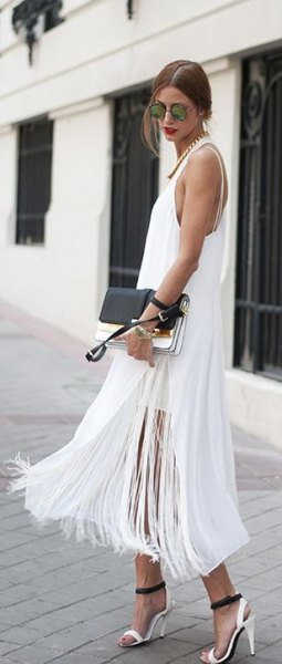 white maxi fringed dress with high division