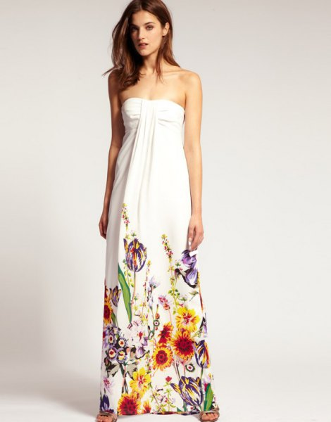 white strapless maxi dress with colorful details with floral print