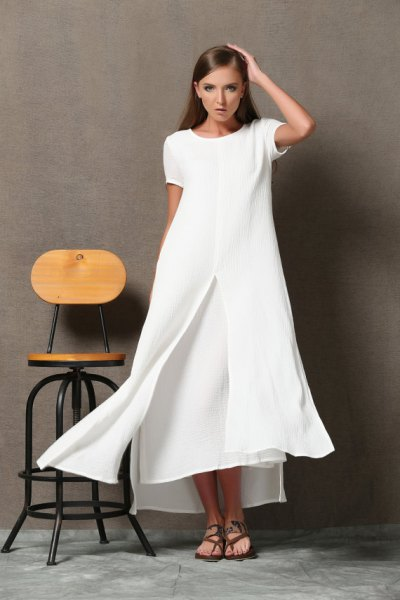 white, two-layer, flared maxi dress