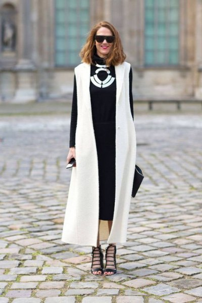 white maxi vest black midi dress