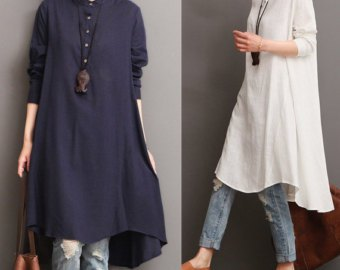 white midi tunic blouse made of linen with blue washed jeans