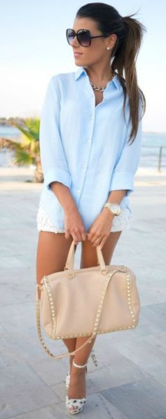 white mini lace shorts and pink leather handbag