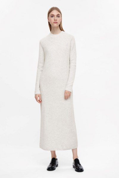 white maxi cashmere dress with mocked neck, black slippers