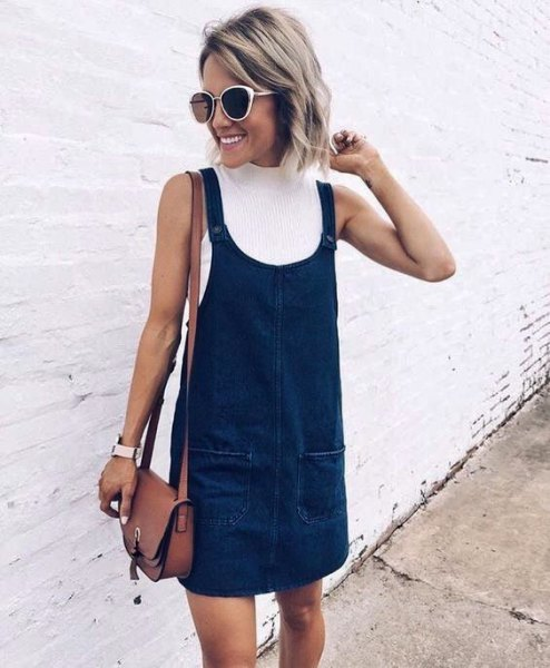 white, ribbed sweater with dark neck, dark blue denim dress