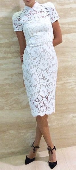 white, short-sleeved, figure-hugging midi dress made of lace