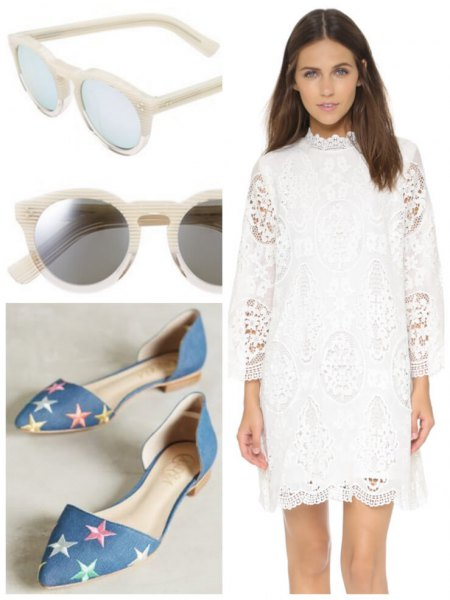 white, three-quarter-sleeved lace mini dress with mock neck and flats with denim star print