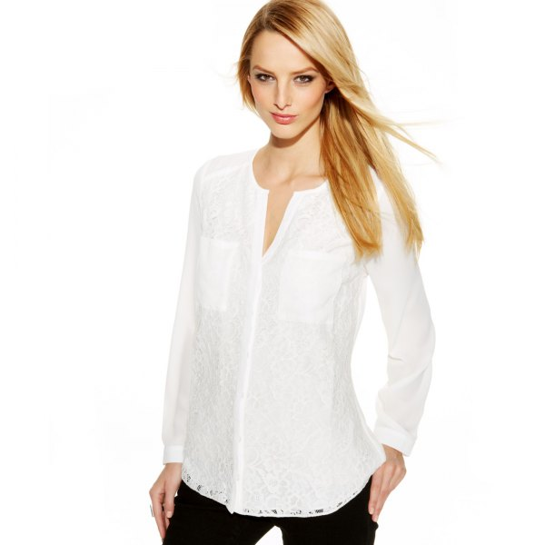 white shirt without a collar with black jeans