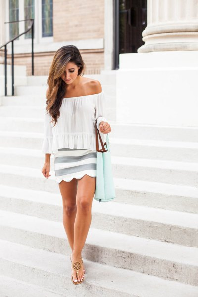 white strapless blouse, pink striped skirt with scalloped hem