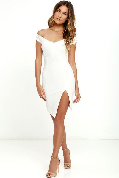 white, strapless, figure-hugging mini dress slot