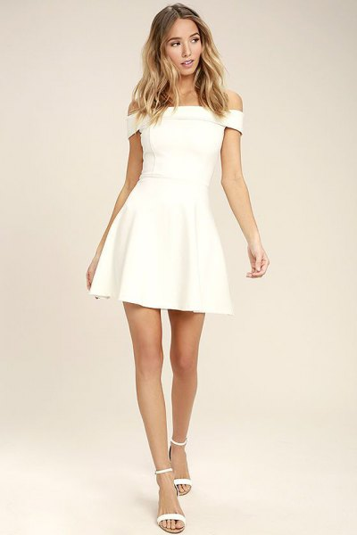 white strapless skater dress with open toes