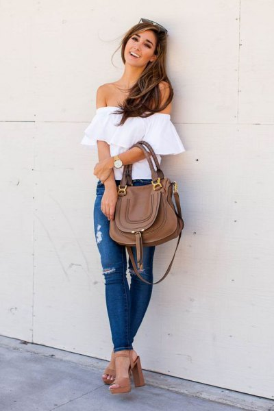 white strapless top jeans