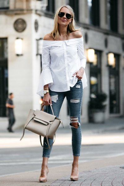 white off the shoulder bell sleeve shirt