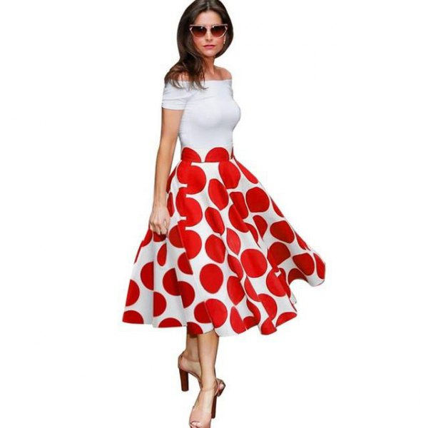 white, off-the-shoulder midi dress with a red polka dot pattern