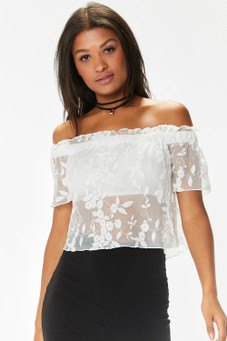 white off the shoulder pencil skirt with floral design