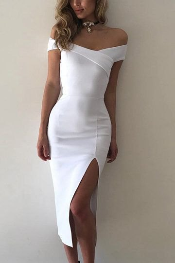 white strapless midi dress with high slit and statement choker necklace
