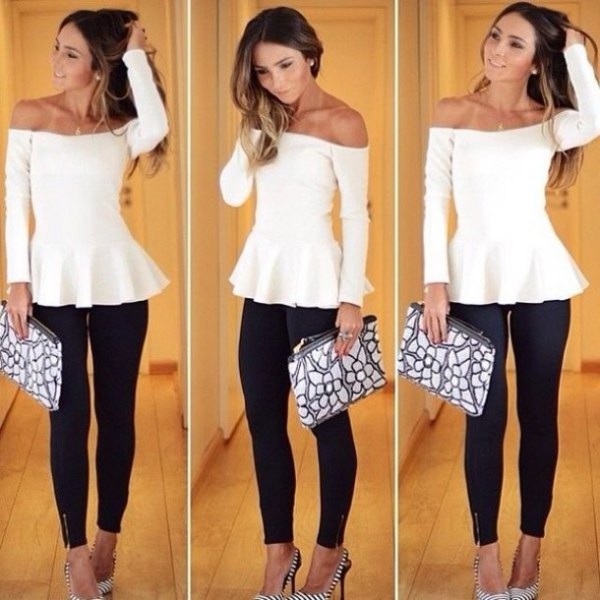 white, off-the-shoulder, elegant tunic blouse with black skinny jeans