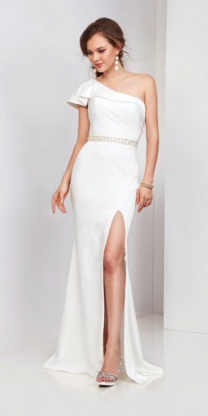 white one shoulder ruffled waist high split maxi dress