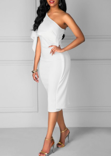 white strapless midi dress with open toe heels