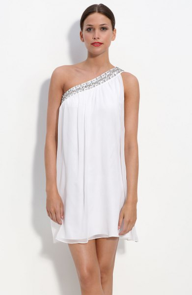 white off shoulder mini chiffon shift dress