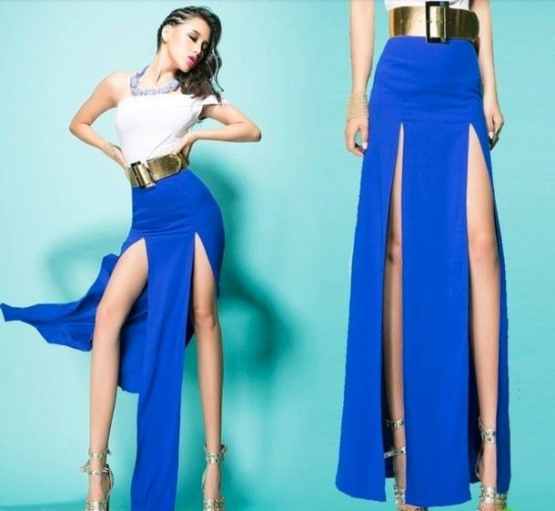 white top with one shoulder, royal blue maxi skirt and gold belt