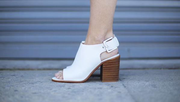 white open-toed ankle boots