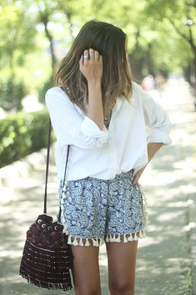 white, oversized shorts with button-up shirt print