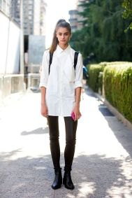 white, oversized shirt with buttons, black skinny jeans and leather ankle boots