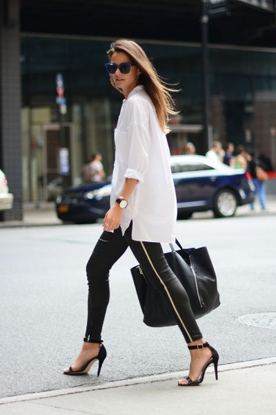 white oversized shirt with buttons, leather gaiters and heels