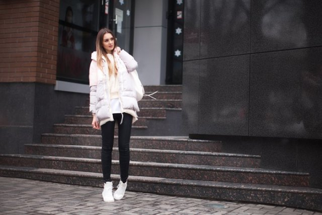 white, oversized, padded jacket with fitted sweater and tunic shirt