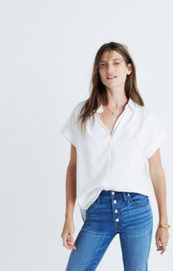 white, oversized skinny jeans with short-sleeved shirt and button placket