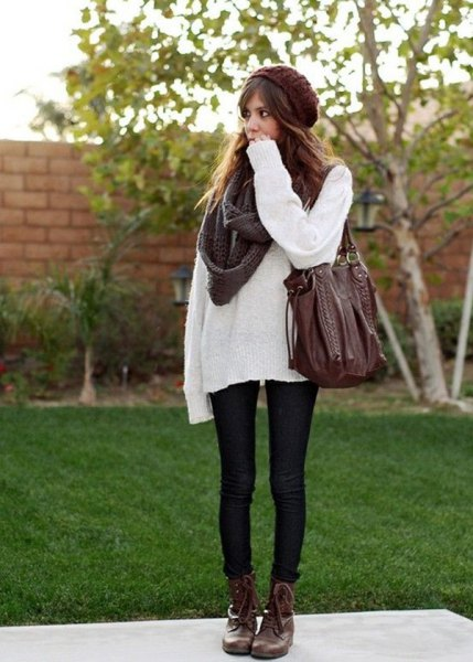 white oversized sweater with gray knitted scarf