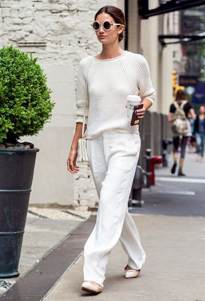 white pants slim fit knitted sweater