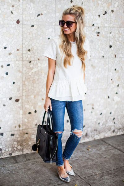 white peplum blouse with ripped jeans and silver metallic pointed flats