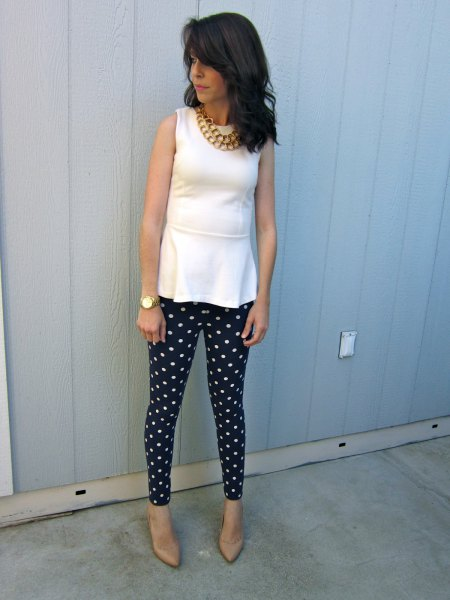white peplum tank top with dotted leggings