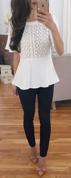 white peplum top with black skinny jeans and ribbon heels