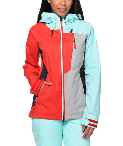 white pink and red windbreaker with snow pants
