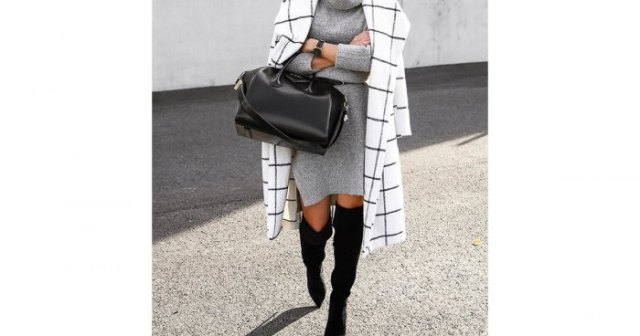 white plaid longline wool coat with black sweater boots
