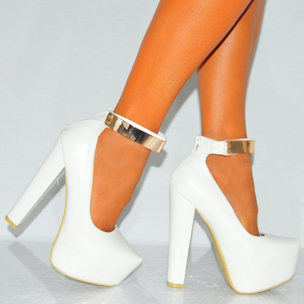 white platform heels and gold ankle straps