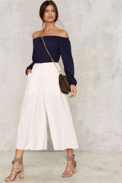 white pleaded culottes off the shoulder black top