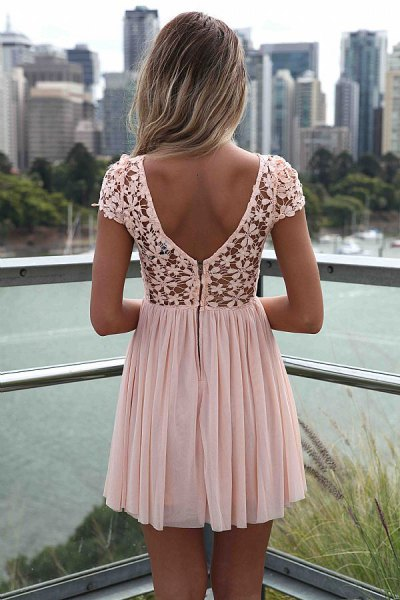white pleated mini dress lace with floral pattern
