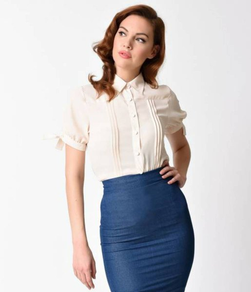 white vintage shirt with pleats and fitted midi skirt in navy blue