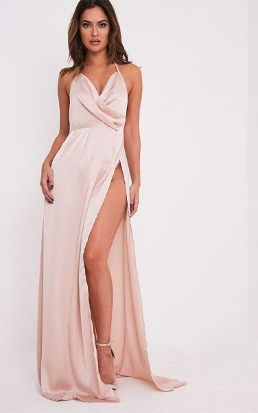 white, deeply divided silk dress from deep dive
