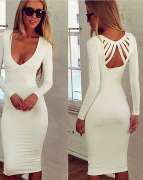white deep neckline and cut-out midi dress