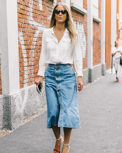 white shirt with pocket front and midi skirt with jeans button in front